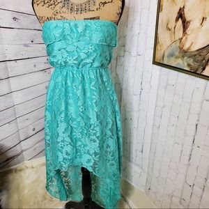 Dresses & Skirts - Lace aqua blue strapless high low dress